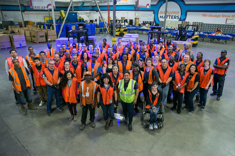 group picture showing all goodwill employees in the resource performance