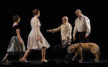 thumbnail image of Sextet performance with two female dancers, and two men with their seeing eye dogs